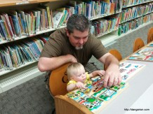 Abby and I checking out puzzles at the library.