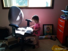 "Abigail is ""working"" just like daddy"