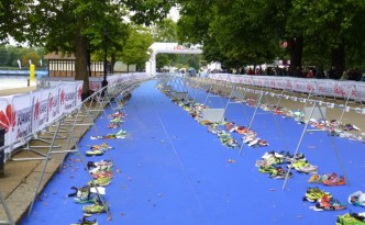 World Champs Aquathlon Transition area
