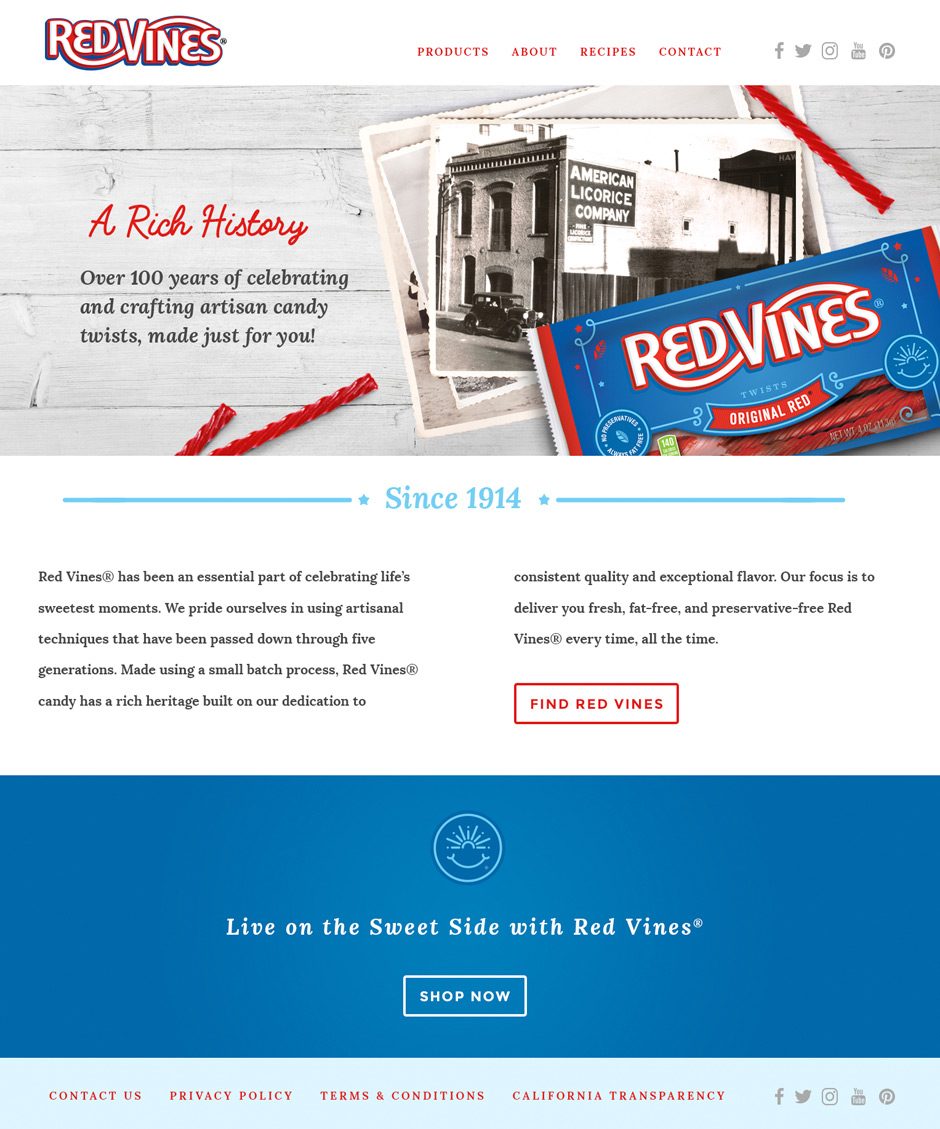 Red Vines history page design