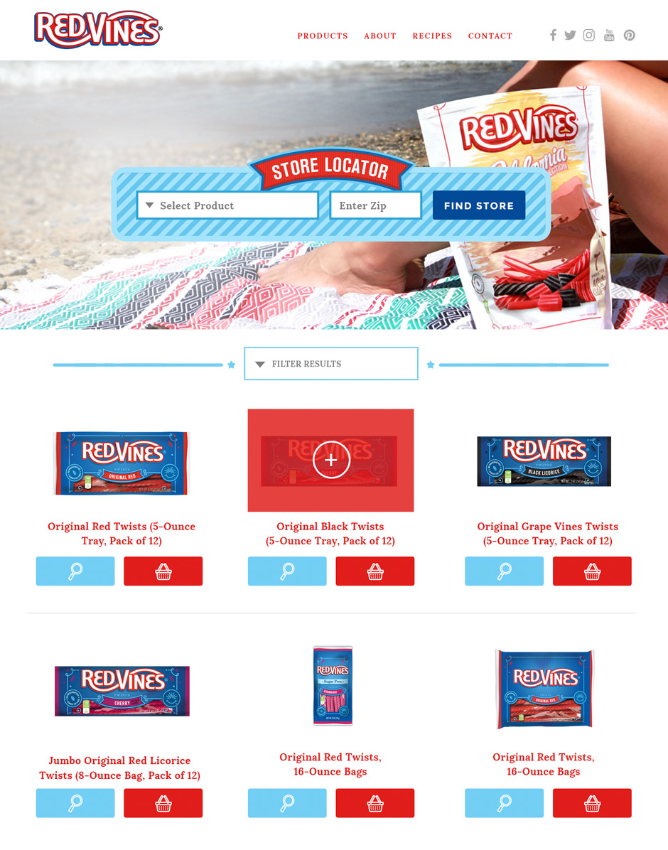 Red Vines products page design
