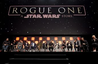 LONDON, ENGLAND - JULY 15: (L-R) John Knoll, Kiri Hart, Gareth Edwards, Kathleen Kennedy, Forest Whitaker, Mads Mikkelsen, Alan Tudyk, Wen Jiang, Donnie Yen, Felicity Jones, Riz Ahmed, Diego Luna, Ben Mendelsohn and Gwendoline Christie on stage during the Rogue One Panel at the Star Wars Celebration 2016 at ExCel on July 15, 2016 in London, England. (Photo by Ben A. Pruchnie/Getty Images for Walt Disney Studios) *** Local Caption *** John Knoll; Kiri Hart; Gareth Edwards; Kathleen Kennedy; Forest Whitaker; Mads Mikkelsen; Alan Tudyk; Wen Jiang; Donnie Yen; Felicity Jones; Riz Ahmed; Diego Luna; Ben Mendelsohn; Gwendoline Christie