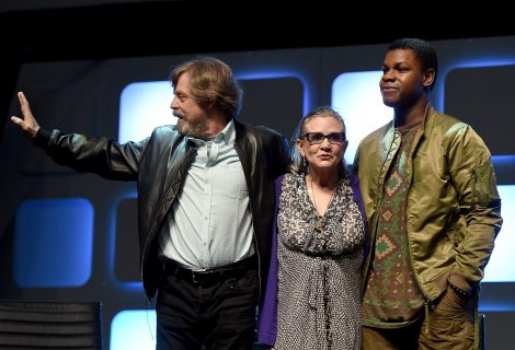 LONDON, ENGLAND - JULY 17: (L-R) Mark Hamill, Carrie Fisher and John Boyega on stage during Future Directors Panel at the Star Wars Celebration 2016 at ExCel on July 17, 2016 in London, England. (Photo by Ben A. Pruchnie/Getty Images for Walt Disney Studios) *** Local Caption *** Mark Hamill; Carrie Fisher; John Boyega