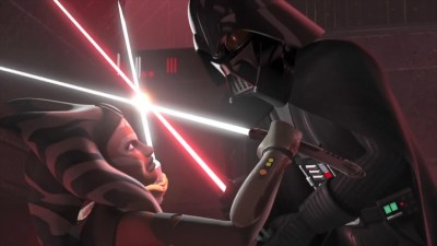 Ahsoka Tano duels Darth Vader in Star Wars Rebels