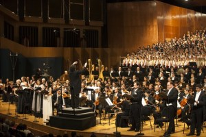 Venezuelan conductor Gustavo Dudamel leads the Simon Bolivar Symphonic Orchestra and the Los Angeles Philharmonic in Caracas