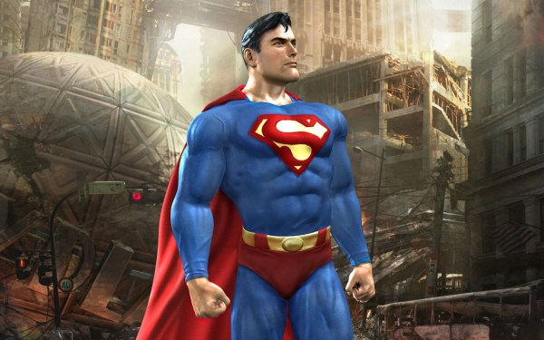 Superman shoots the breeze while Metropolis burns in the foreground. Great concept, isn't it?