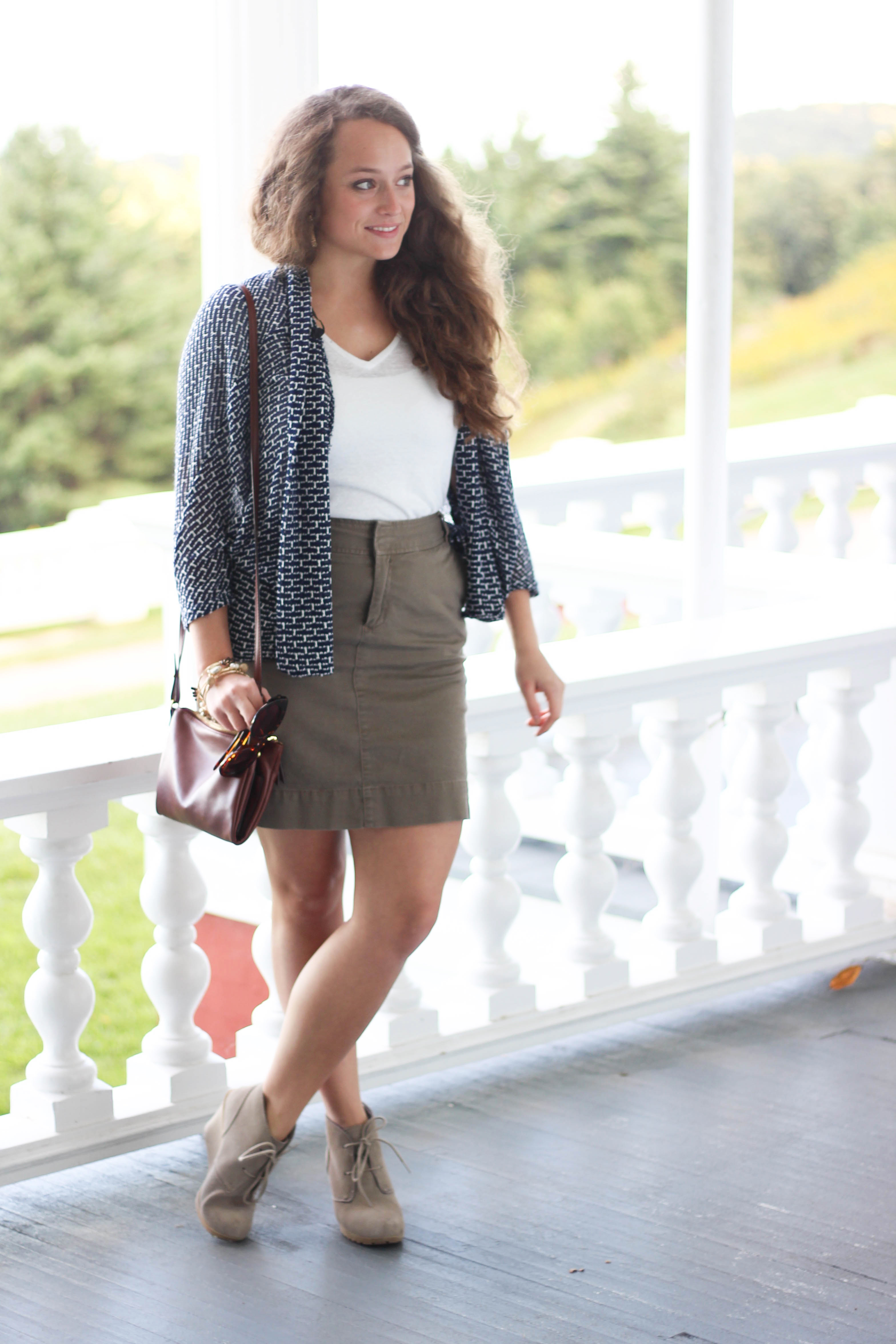 Khaki Skirt, White V Neck Shirt, Navy and White Cardigan, and TJMaxx Booties