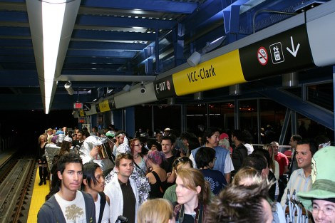 """An overcrowded platform at VCC-Clark SkyTrain station. SkyTrain service cuts during all off-peak hours were among some of the """"efficiency"""" recommendations in the recent TransLink audits."""