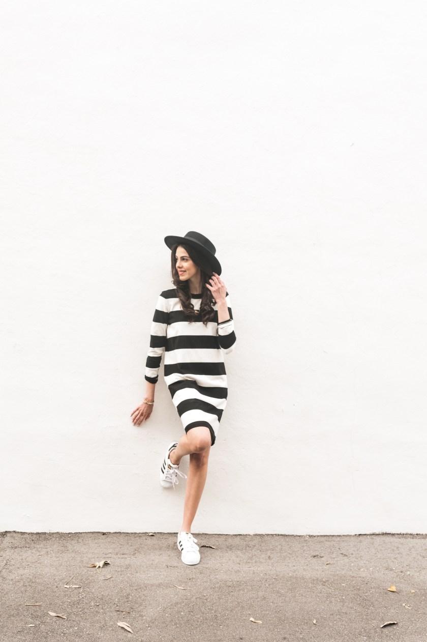 Black t shirt dress topshop - Miami Fashion Blogger Stripe Dress Topshop