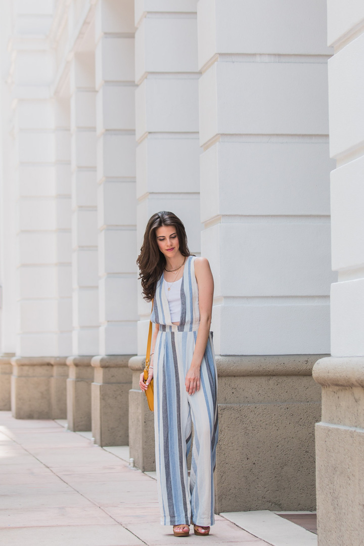 """Jackie Roque wearing the Free People """"My Kind Of Woman"""" stripe jumpsuit"""