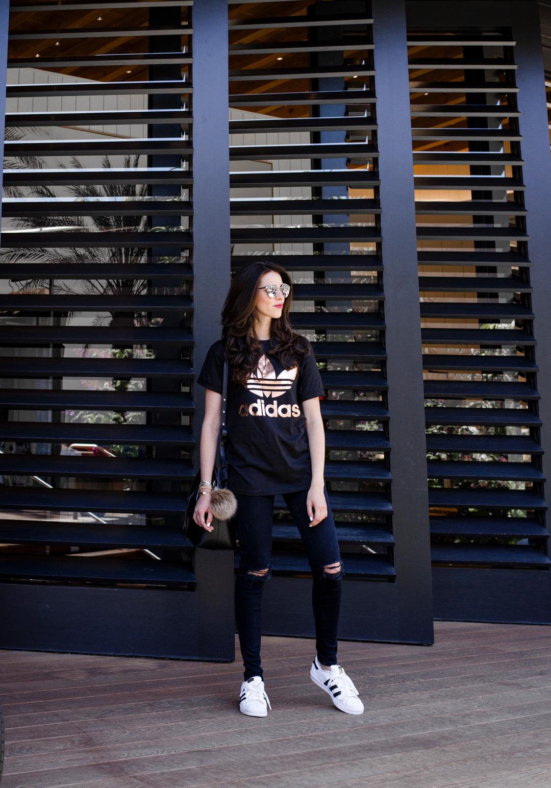 Dash of Panache styling Adidas, J Brand Jeans and a Mansur Gavriel Bucket Bag