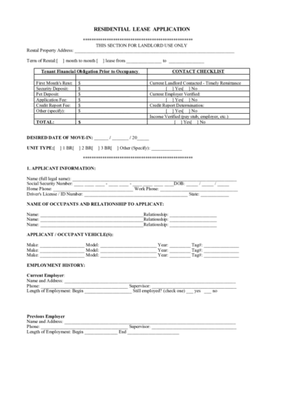 Residential Lease Application printable pdf download