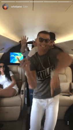 Cristiano Ronaldo and his friends entertain Georgina Rodriguez with a dance in private jet