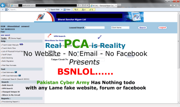 BSNL Website got hacked by Pakistan Cyber Army