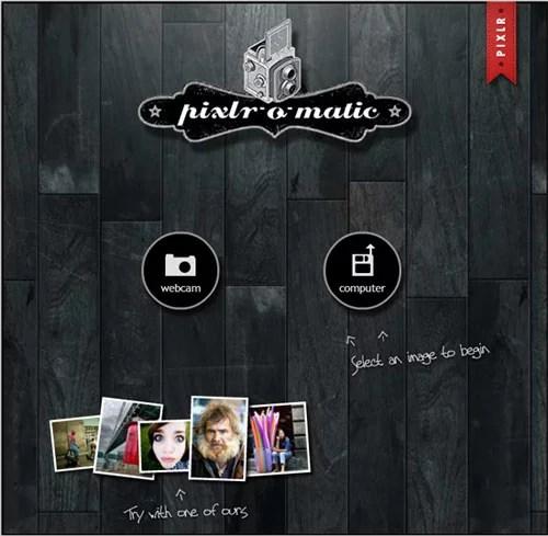 Pixlr-o-matic online photo editing tool