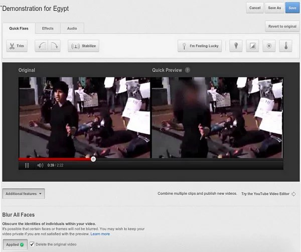 Youtube Face Blurring tool helps to keep anonymity on Footage