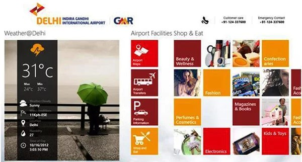 Delhi International Airport gets a Windows 8 app - access Flight Info, Facilities