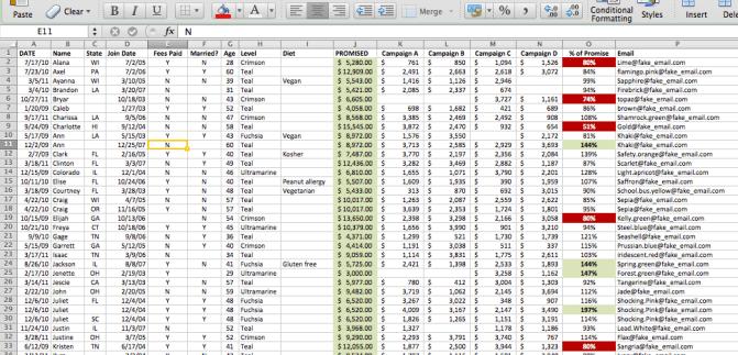 Pivot Table Example - Raw Data