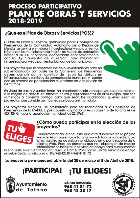 Los vecinos de Totana podrán elegir del 20 de marzo al 8 de abril, de forma telemática o presencial, las obras que se acometerán dentro del Plan de Obras y Servicios de los años 2018 y 2019, respectivamente