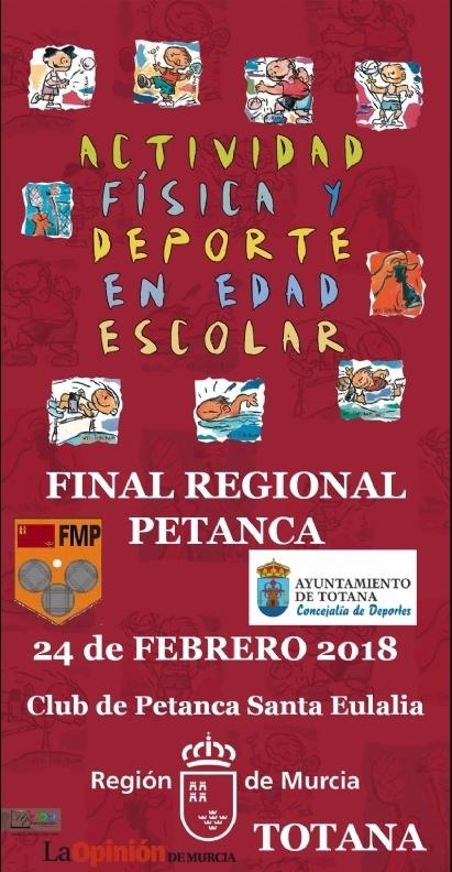 """La Final Regional de Petanca de Deporte Escolar tendrá lugar este sábado 24 de febrero en las instalaciones del Club de Petanca """"Santa Eulalia"""" de Totana"""