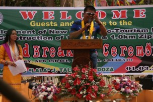 THE LONGEST IN ASIA.  Makilala town mayor Rudy Caoagdan describes the proposed zip line project in his area as the longest in the country and Asia during the groundbreaking ceremony, January 3, in New Israel village, Cotabato province.  (davaotoday.com photo by Alex D. Lopez)