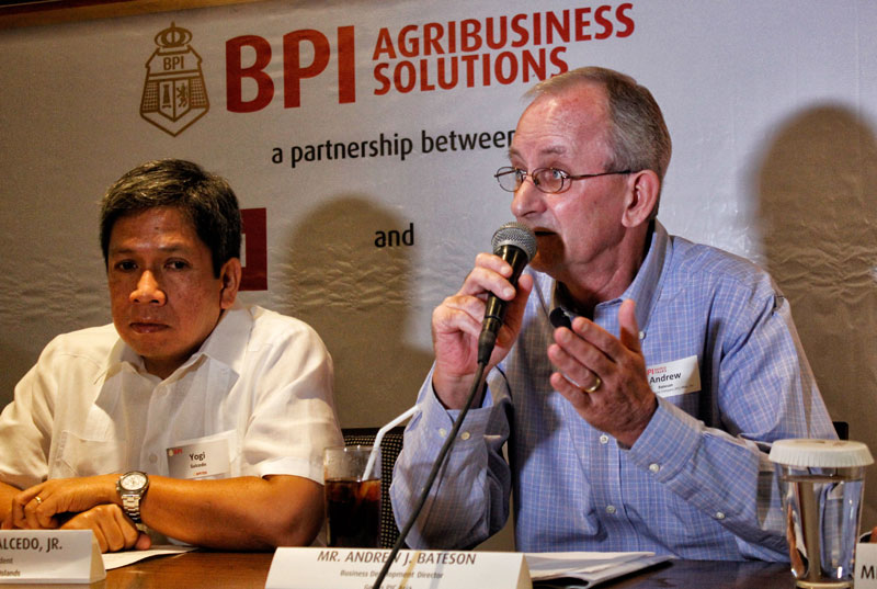 Mr. Alfonso Salcedo Jr. (left), BPI Executive Vice Presiden & Head of Corporate Banking, and Mr. Andrew Bateson, Business Development Director for Genus PIC Incorporated.  (davaotoday.com photo by Medel V. Hernani)