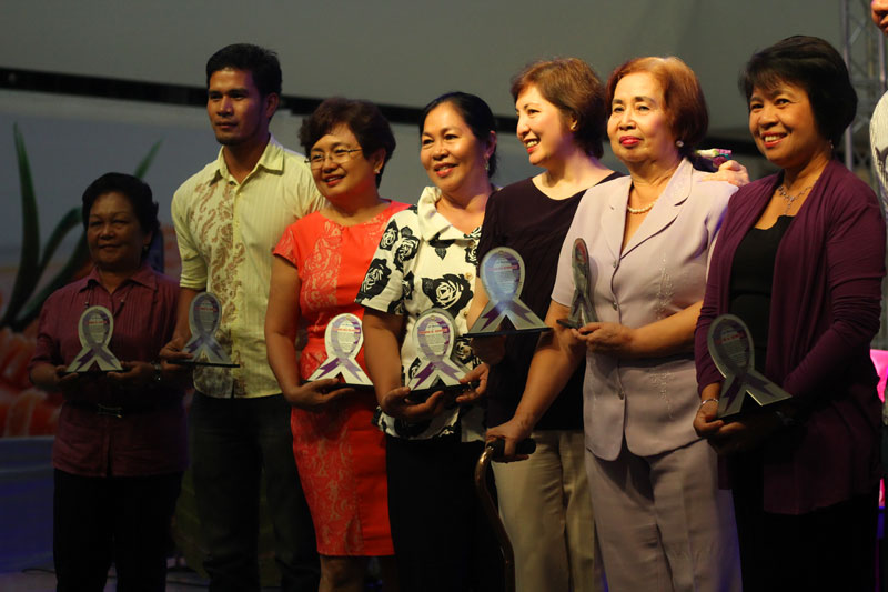"PILLARS.  A dozen women from Davao City are awarded as the pillars of Reproductive Health Movement, Wednesday during the International Day of Action for Women's Health.  They were chosen by various women's groups for their ""determination in upholding the rights of women and children"" since the '80s.  Awardees include (from right): Prof. Mae Fe Ancheta-Templa, Lyda Canson, Dr. Darlene Estuart and Rosena Sanchez.  (davaotoday.com photo by Ace R. Morandante)"