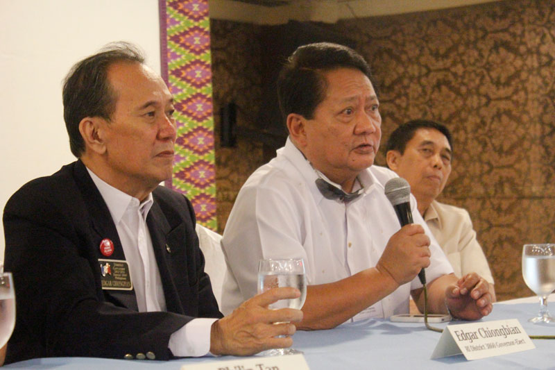 Rotary International District 3860 officials (from left) Edgar Chiongbian, Ibarra Panopio and Teodoro Locson in a press briefing Friday at the Grand Regal Hotel in Davao City.  (davaotoday.com photo by Marilou Aguirre-Tuburan)