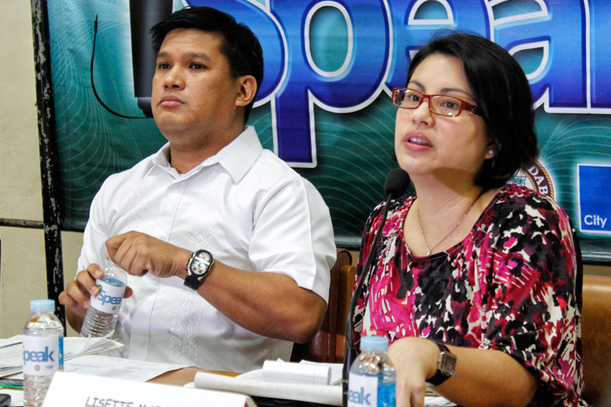 KADAYAWAN EVENTS. OIC City Tourism Officer Lisette Marquez announces the city's preparation for the week-long Kadayawan Festival on August 17 to 24. With her is City Councilor Al Ryan Alejandre, Committee Chair on Tourism and Beautification (davaotoday.com photo by Medel V. Hernani)