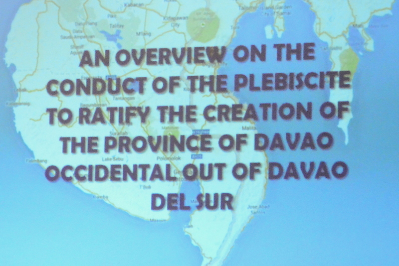 Creation of new Davao Occidental included in Davao del Sur barangay elections
