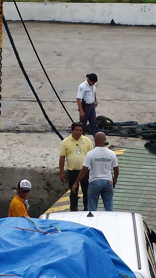 Librado's photo on her Facebook account shows Lipata port workers blocking their cars from boarding the ferry.