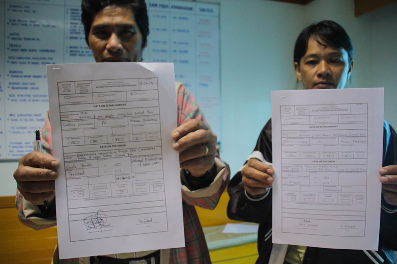 "SUMIFRU WORKERS TO STRIKE Leaders from two unions of Sumifru Phils banana packing plant in Compostela, Compostela Valley file a notice of strike on December 23 after the termination of 138 workers who refused to sign ""waiver of commitment"". (davaotoday.com photo by Ace R. Morandante)"