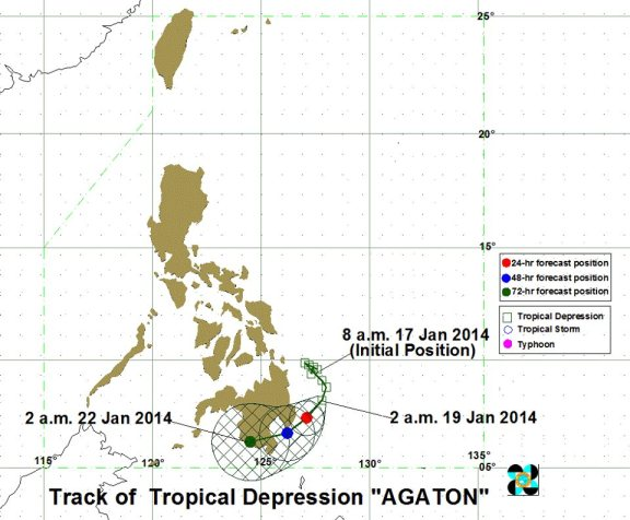 PAGASA forecast on Typhoon Agaton as of January 19, 2014
