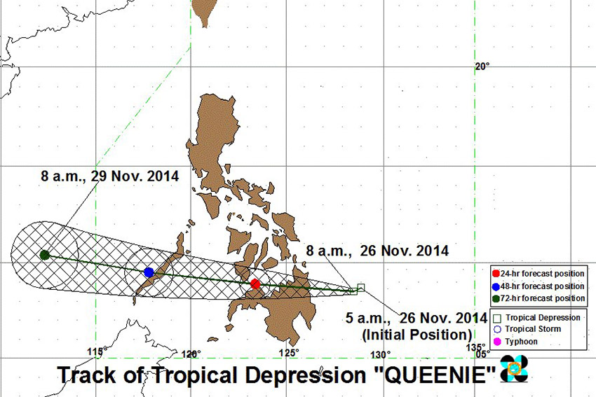 Storm signals over Davao region lowered as 'Queenie'  pounds Southern Visayas