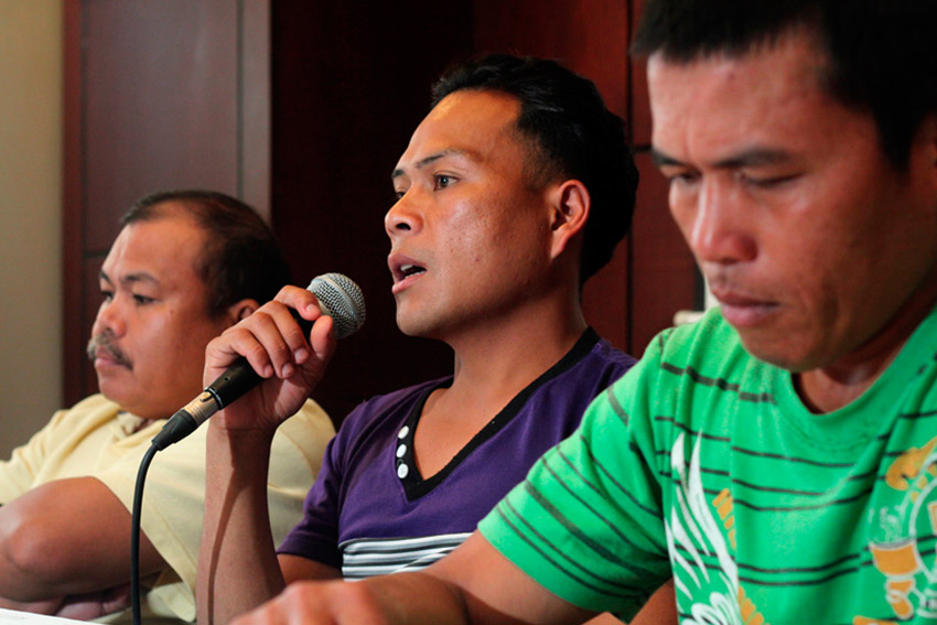 Danny Diarog, secretary general of Kahugpongan sa mga Lumad (center) (Ace R Morandante/davaotoday.com file photo)