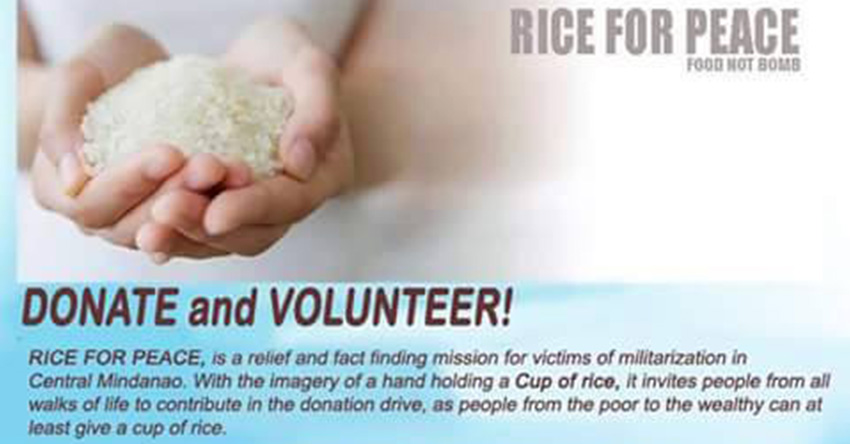 """Group launch """"rice for peace"""" campaign for Moro evacuees"""