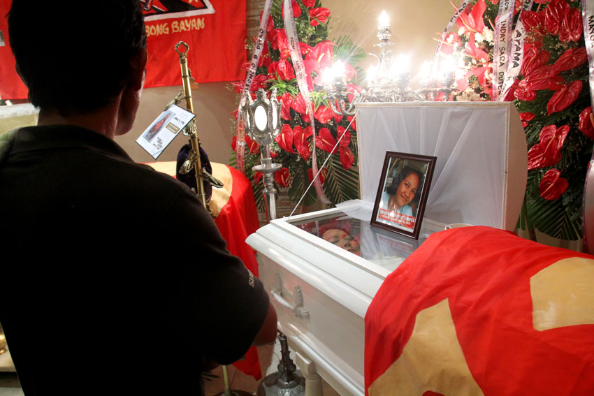 FATHER'S GRIEF. Father of slain New People's Army medic, Vanessa Limpag, aka Ka Kyle, traveled all the way from Zamboanga to bring home the remains of his daughter.(Ace R. Morandante/davaotoday.com)