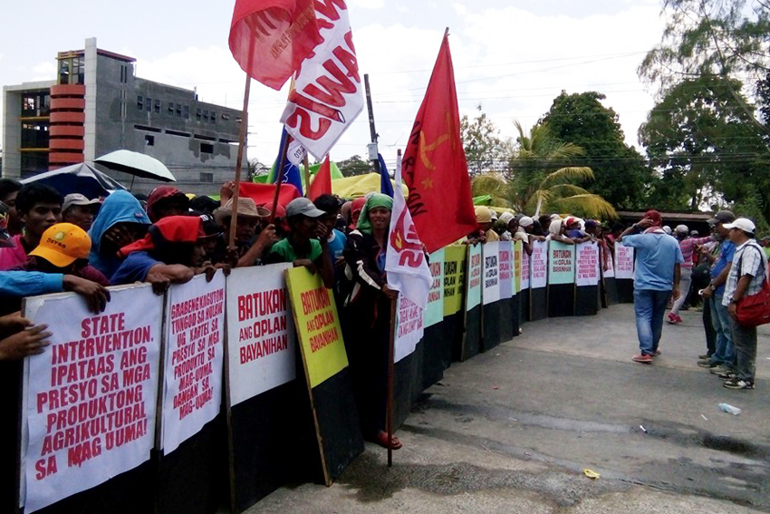WHERE'S THE RICE? Around 5,000 farmers protest along Davao-Cotabato national highway in Kidapawan City on Wednesday, March 30 to demand for rice assistance as they suffer the impact of prolonged drought in the province. (Danilda Fusilero/davaotoday.com)