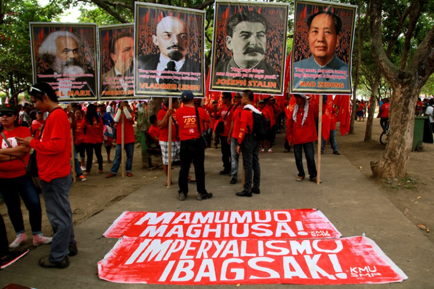 Labor groups under Kilusang Mayo Uno Southern Mindanao  set up inside the Magsaysay Park the pictures of the philosophers Karl Marx, Friedrich Engels, Vladimir Lenin, Joseph Stalin and Mao Zedong during the 130th Commemoration of the International labor day.