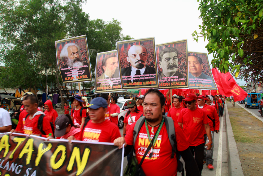 Around 6,000 workers from different provinces of Southern Mindanao Region march the street of Davao City as they commemorate labor day.