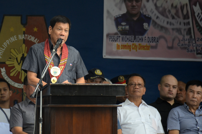 BIGGER BOUNTY. During the turnover ceremony of the Davao City Police command on Friday, June 24 President-elect Rodrigo Duterte says he will top the bounty offered by drug lords for his head and asked police officers to kill them and they will be assured of promotion. (Ace R. Morandante/davaotoday.com)