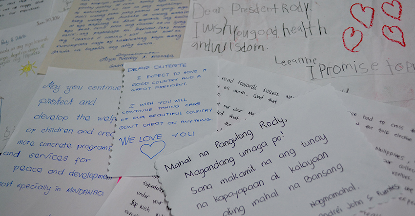 LETTERS TO THE PRESIDENT. These letters are written by students of the Assumption College of Davao for President Rodrigo Duterte. The school held a program to celebrate Duterte's inauguration on Thursday, June 30. (Christian Lloyd Espinoza/Contributor)