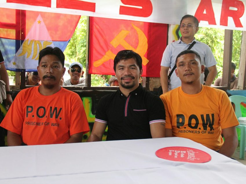 Pacquiao receives NPA's prisoners of war