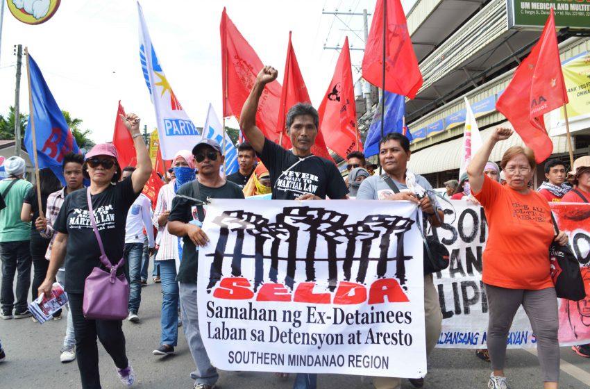 Members of Samahan ng mga Ex-Detainees Laban sa Detensyon at Aresto, an organization of former political detainees arrested during Martial Law.