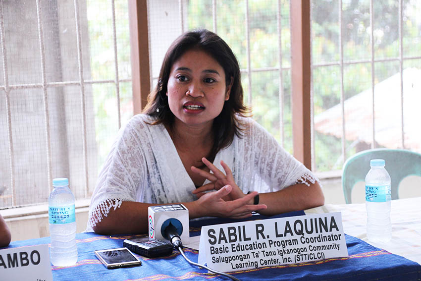 Sabil R. Laquina, basic education program coordinator for Salugpongan Ta 'Tanu Igkanugon Community Learning Center announces their celebration of the Bwalawan Festival (Manobo's harvest time) coinciding with the school's 12th anniversary on September 30. Laquina said that this year's celebration aims to highlight and commemorate the struggle of the Lumad's right to education. (Paulo C. Rizal/davaotoday.com)