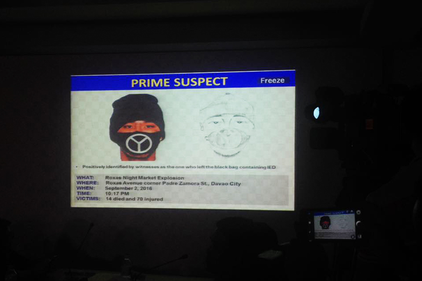 The Police Regional Office XI released the artist and digital sketch of the suspect in the Roxas night market bombing. (Maria Patricia/davaotoday.com)