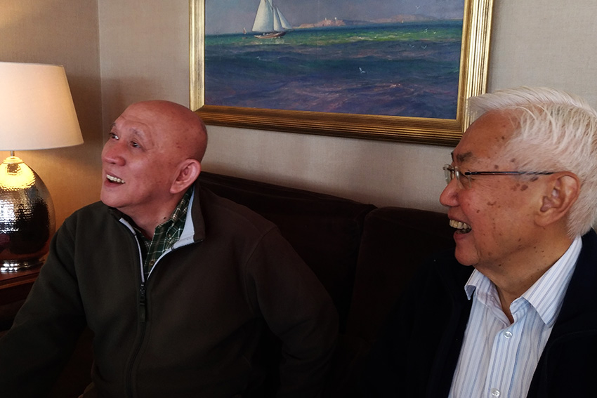 Newly-appointed National Democratic Front of the Philippines peace panel chairman Fidel Agcaoili (left) shares light moments with his predecessor, now NDF senior political adviser Luis Jalandoni at the Holmenfjord Hotell in Oslo, Norway on the day of the opening of the second round of peace talks with the government. On Wednesday night, the NDF announced that it has granted the request of Jalandoni to resign. Jalandoni is now 81 years old. (Zea Io Ming C. Capistrano/davaotoday.com)