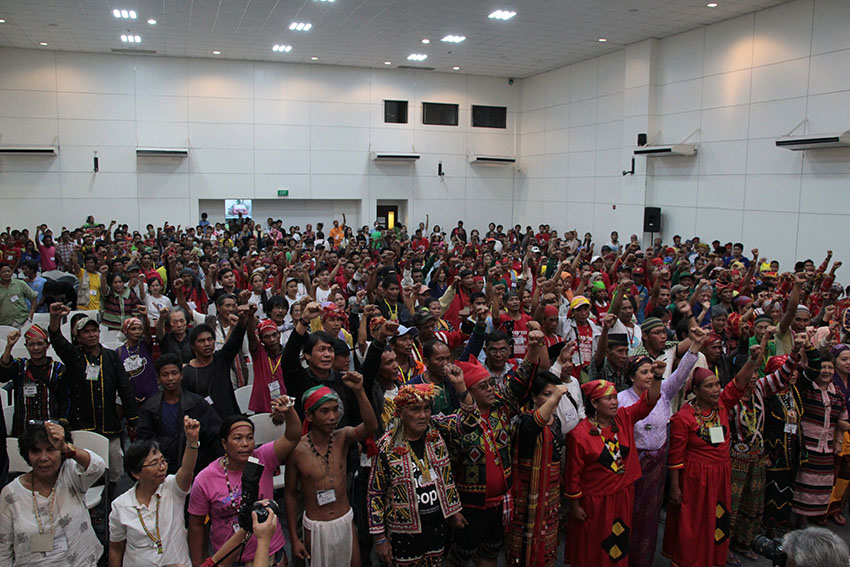 Over 3,000 Lumad and Moro activists from across the country formed Sandugo, an alliance of national minorities , on October 14 at the GT-Toyota Asian Center, University of the Philippines Diliman. (Paulo C. Rizal/davaotoday.com)