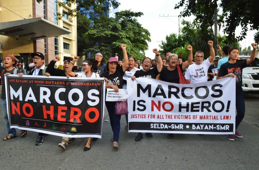 MARCHING CALL. Anti-Marcos groups coming from different organizations in Davao City converge at the city's Freedom Park on Friday, Nov. 25  to protest the  Supreme Court's decision on the Marcos' burial issue. (Medel V. Hernani/davaotoday.com)