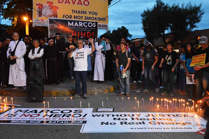 IN SOLIDARITY. Porferio Tuna, peace consultant from the National Democratic Front of the Philippines joins the anti-Marcos rally in Davao City on Friday, Nov 25. (Medel V. hernani/davaotoday.com)